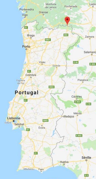 Montesinho sur carte générale du Portugal